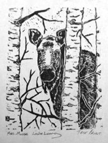 Linocut print by Leslie Leong, Canadian artist, Whitehorse, Yukon