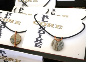 upcycled mining exploration core samples jewelry pendant jewellery by Leslie Leong gifted to HHR Katherine, The duchess of Cambridge
