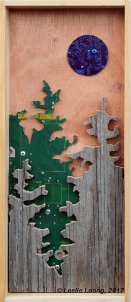 Original Mixed media artwork: recycled computer boards and reclaimed wood by Leslie Leong, Canadian artist in Whitehorse, Yukon.