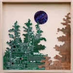 Original Mixed media artwork using recycled computer boards and reclaimed wood by Leslie Leong, Canadian artist in Whitehorse, Yukon.