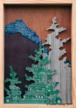 Original Mixed media artwork: recycled computer boards and reclaimed wood by Leslie Leong, Canadian artist, Whitehorse, Yukon.