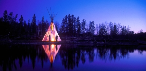 Tipi Teepee reflection at twiligh, midnight sun, Fine Art photography by Leslie Leong, Canadian Artist, lWhitehorse, Yukon