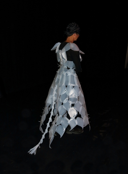 up-cycled fashion, ball gown made of recycled milk jugs by Leslie Leong