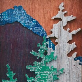 Mixed media Landscape artwork using recycled computer boards by Leslie Leong, Canadian Artist, Whitehorse, Yukon