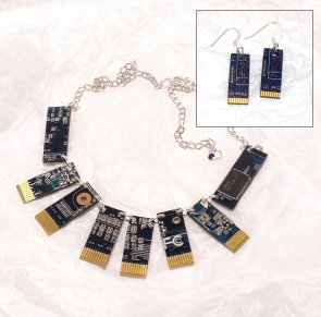 Blue Upcycled recycled CPU computer board necklace Beautiful Bytes Collar by Leslie Leong, Canadian Artist, Whitehorse, Yukon.