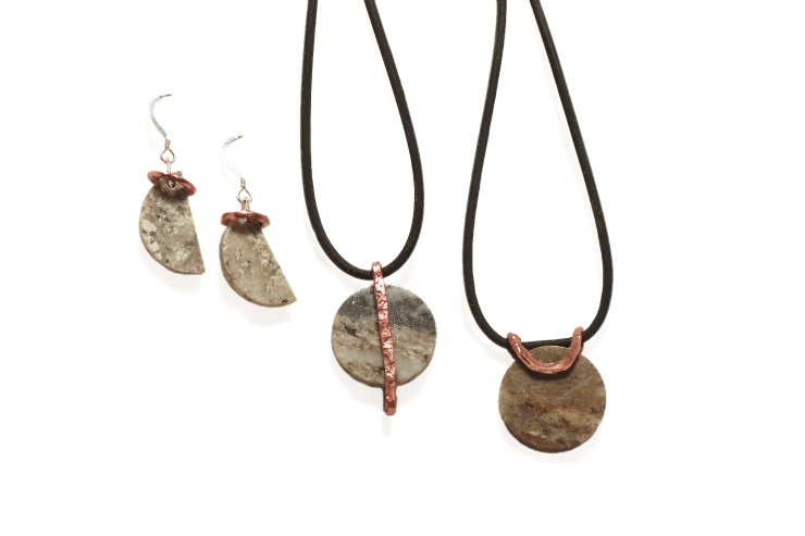 Pendants and earrings, Handmade Klondike Core jewelry by Leslie Leong, Canadian Artist, living and working in Whitehorse, Yukon. Made from recycled copper and stone core samples from the mining industry.