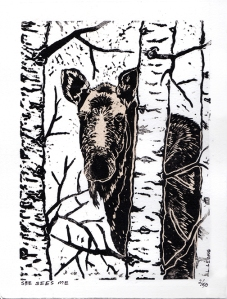 Moose Linocut print watercolour washed by Leslie Leong, Canadian Artist, Whitehorse, Yukon