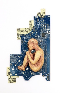sculptural ceramic sculpture of woman in fetal position mixed with recycled CPU computer board handmade by Leslie Leong, Canadian Artist, Whitehorse, Yukon.