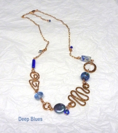 Blue grey and copper recycled copper necklace by Leslie Leong
