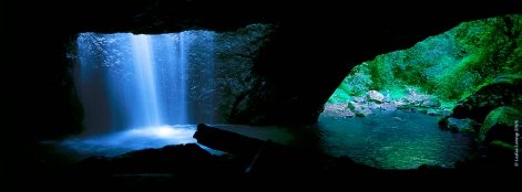 Waterfall cave panoramic photograph by Leslie Leong, Whitehorse, Yukon, Canada