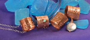 reClaimed Copper Tube pendants with Opal and freshwater pearl by Leslie Leong, Canadian Artist, Whitehorse, Yukon.