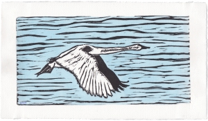 Swan in Flight, Linocut print watercolour washed by Leslie Leong, Canadian Artist, Whitehorse, Yukon