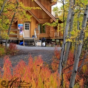 Autumn colours, Ted Harrison Artist Retreat at Crag Lake, Yukon, photography by Leslie Leong