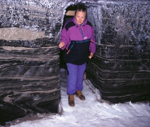 Permafrost, community freezer, Tuktoyuktuk, Northwest Territories, sand, ice